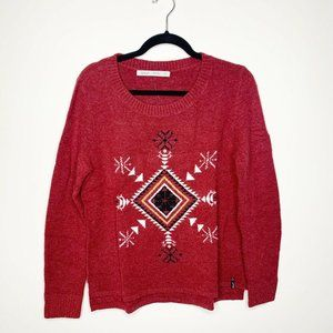 Woolrich Cranberry Red Winter Motif Sweater
